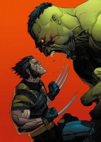 WOLVERINE - Vs HULK ORANGE canvas print - self adhesive poster - photo print